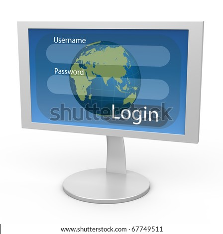 White monitor with blue submit page and a globe in the background - stock photo