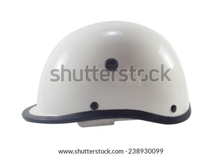 White motorbike classic helmet. - stock photo