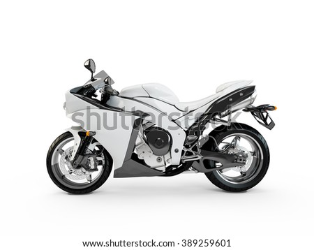 White motorcycle isolated on a white background. - stock photo