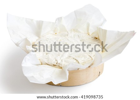 White mould cheese in wrapping isolated white.