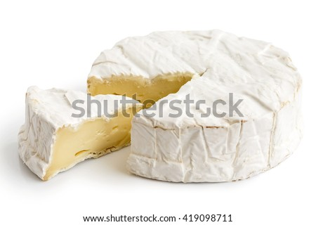 White mould cheese with cut slice isolated on white.