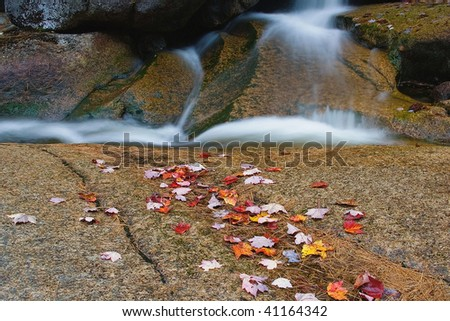 White Mountain Cascade and Autumn Leaves New Hampshire - stock photo