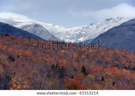 White mountains of New Hampshire in autumn with Mt Washington in the background