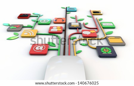 white mouse connected with web icons isolated on white background - stock photo
