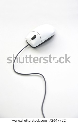 White mouse isolated on white table - stock photo