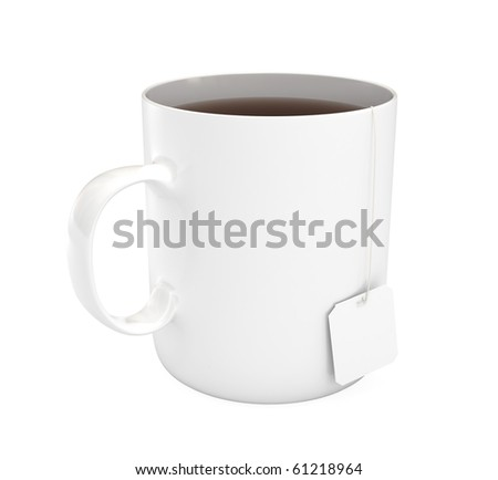 White mug (cup) of tea, isolated on white, 3d illustration - stock photo