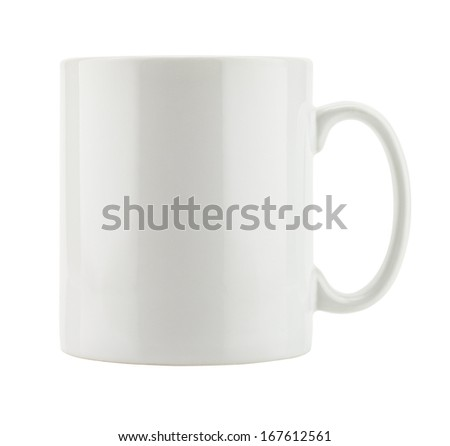 White mug empty blank for coffee isolated on white background