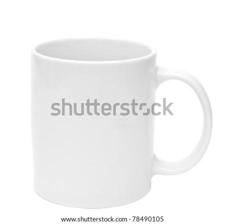 White mug empty blank for coffee on white background - stock photo