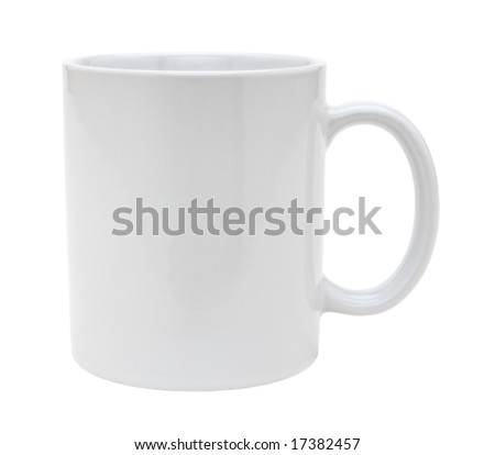 White mug empty blank for coffee or tea isolated on white background - stock photo