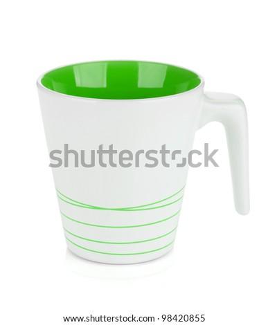 White mug, green inside. Isolated on white background - stock photo