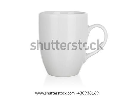 White mug isolated on white - stock photo