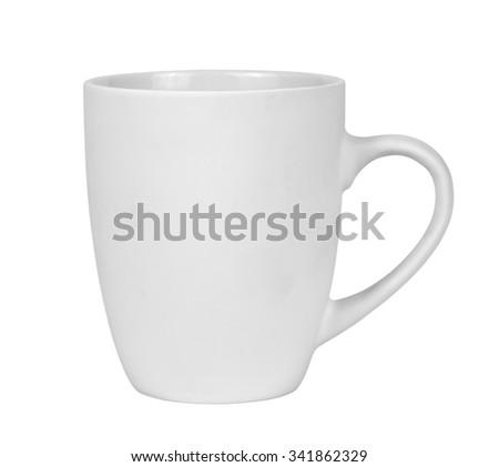 White mug isolated on white background - stock photo