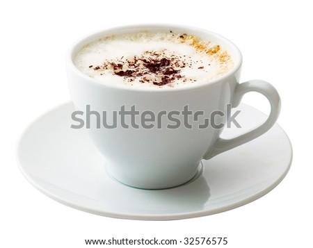 White mug of coffee isolated on white background - stock photo