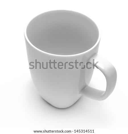 White mug on white background - stock photo