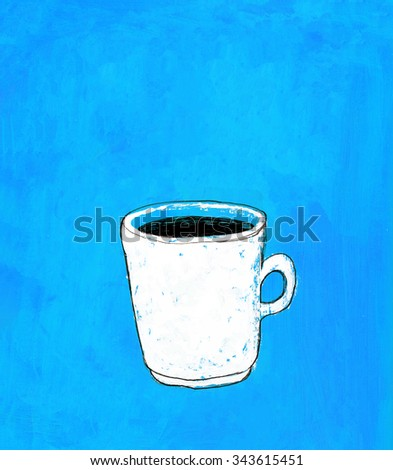 White mug with coffee painted on blue acrylic background. Illustration for cooking site, menus and food designs. - stock photo