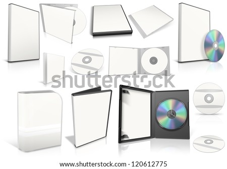 White multimedia disks and boxes on white background. Ready to be personalized by you. - stock photo