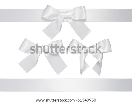 white multiple ribbon with bow isolated on white background - stock photo