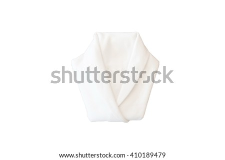 White napkin folded into a shirt on dinner table taken from top view
