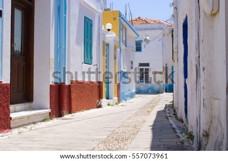 White narrow street of Koskinou, Rhodes - Greece