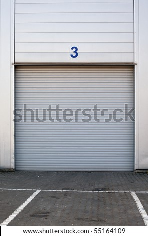 white new metal garages gate - stock photo