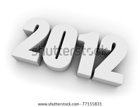 White new 2012 year 3D figures with shadows. - stock photo