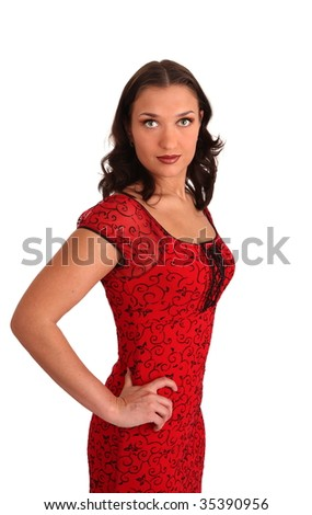 white nice young woman in red dress on a wihite background