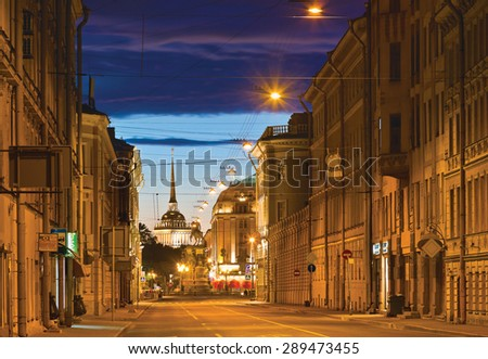 White night in St.-Peersburg, Russia. Voznesensky Avenue (Prospekt), Saint Isaac's Square and Admiralty Building in distance - stock photo