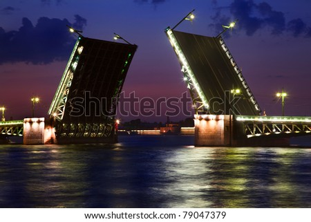 White night view of the Neva River and Dvortsoviy drawbridge in Saint Petersburg city, Russia - stock photo
