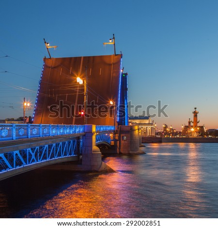 White Nights in St. Petersburg, opened the Palace bridge, a view of the Spit of Vasilyevsky Island