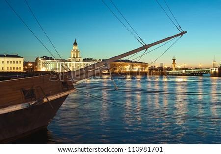 White nights in St.-Petersburg, Russia. Neva River and Spit of Vasilyevsky Island - stock photo