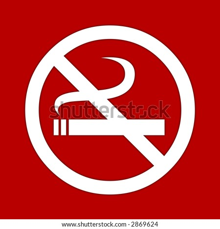 White no smoking sign on red background.