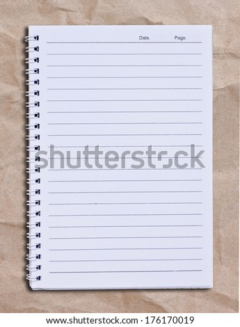 White Note Book Blank Page