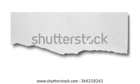 white note paper on white background with clipping path