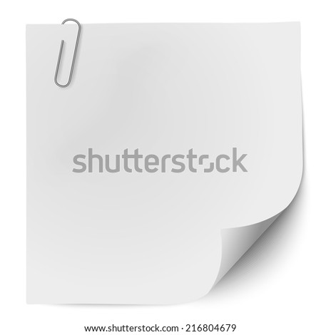 White note paper with metallic clip isolated on white background. Raster version illustration. - stock photo