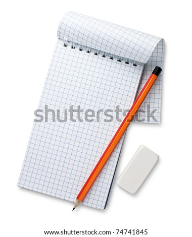 white notebook and pencil isolated - stock photo