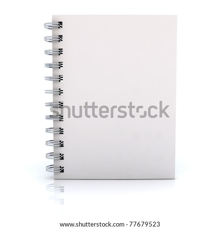 White notebook. 3D rendered Illustration. Isolated on white. - stock photo