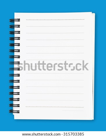 white notebook isolated with clipping path