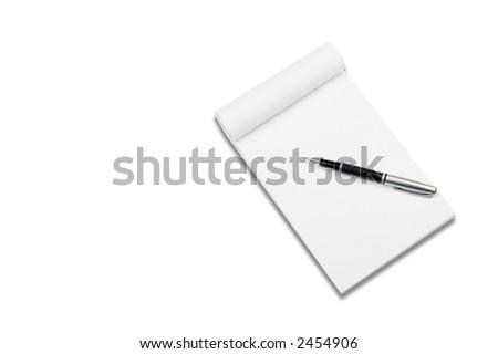 White notebook with stylish pen, isolated on white background. - stock photo