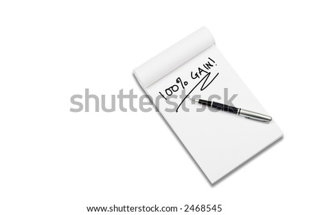 White notebook with stylish pen,word 'Gain', isolated on white background.