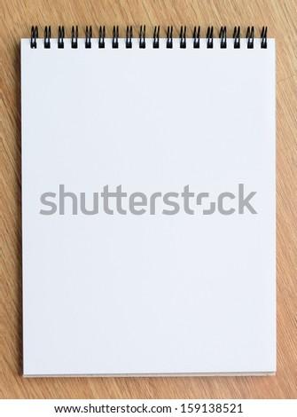White Notepad Wood Background - stock photo