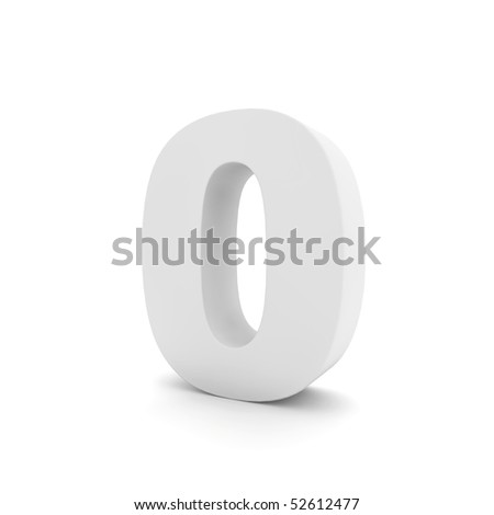 white number 0 isolated on white - stock photo