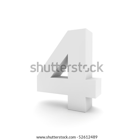 white number 4 isolated on white - stock photo