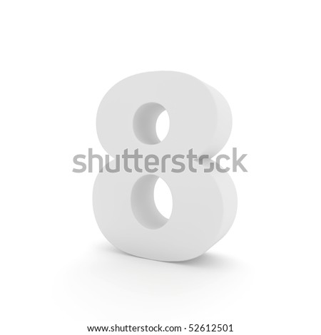 white number 8 isolated on white - stock photo