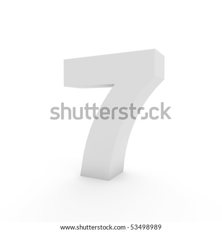 white number 7 isolated on white
