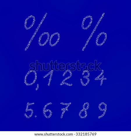 White numbers and signs composed of snowflakes or stars on blue background - stock photo