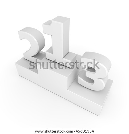 white numbers 1, 2, 3 on a white victory podium - template style - stock photo