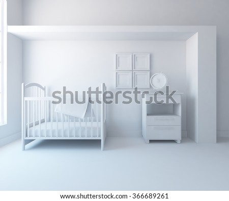 white nursery interior. 3d illustration - stock photo