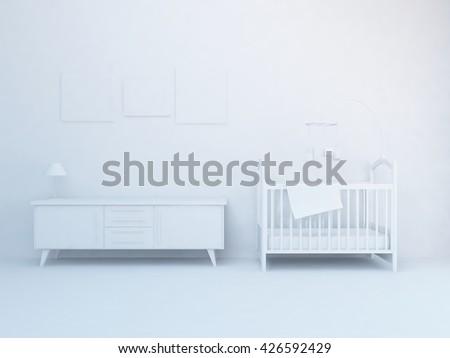 White nursery room. Living room interior. Scandinavian interior. 3d illustration - stock photo