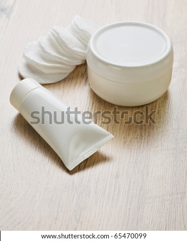 white objects on wooden background