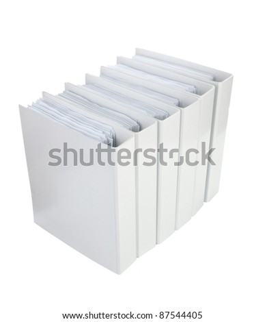 White Office binder isolated on the white background - stock photo